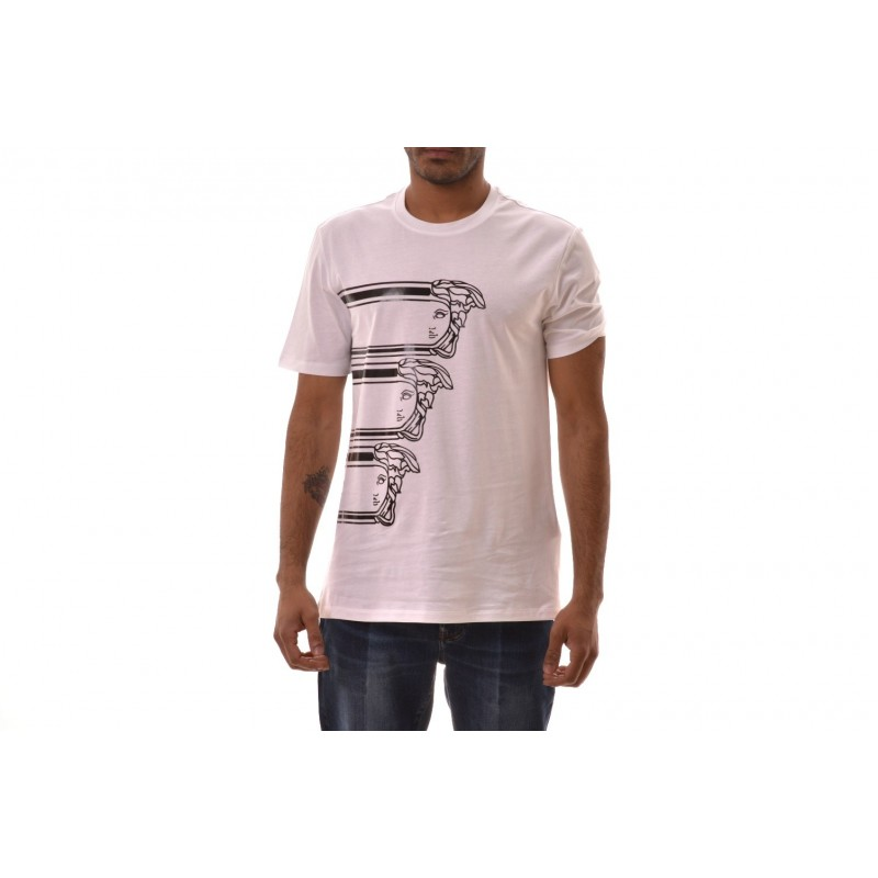 VERSACE COLLECTION - T-Shirt in cotone con stampa LOGO - Bianco
