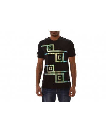 VERSACE COLLECTION - T-Shirt in Cotone con Stampa   - Nero/Stampa
