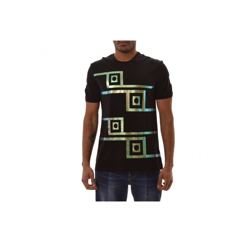VERSACE COLLECTION - Cotton Patterned T-Shirt   - Black/Patterned