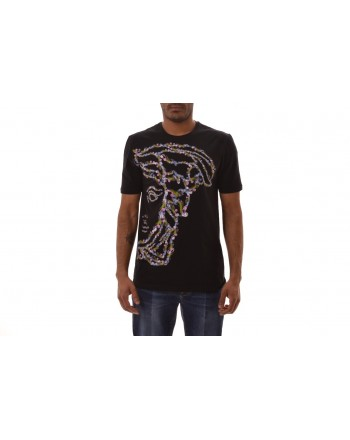 VERSACE COLLECTION - T-Shirt con stampa Medusa Colorata  - Nero/Stampa