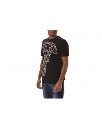 VERSACE COLLECTION - Cotton T-Shirt with Multicoloured  Medusa   - Black/Patterned