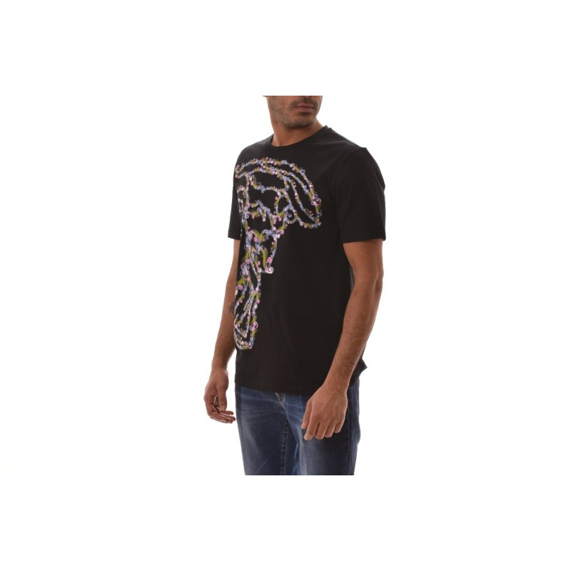 VERSACE COLLECTION - T-Shirt con stampa Medusa Colorata  - Nero/Stampa