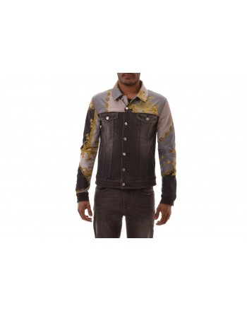 VERSACE COLLECTION - Patterned Denim Jacket - Jeans/Black