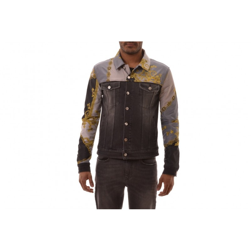 VERSACE COLLECTION - Giacca in Denim con Stampa - Jeans/Nero