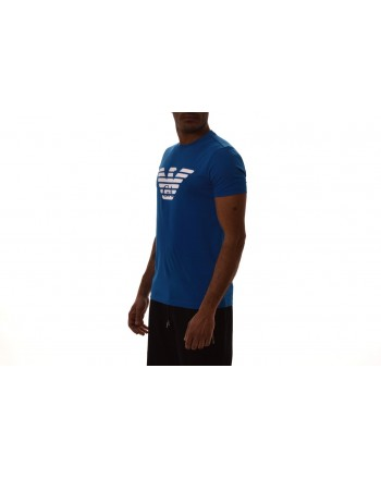 EMPORIO ARMANI -  Cotton T-Shirt with LOGO printed - Bluette