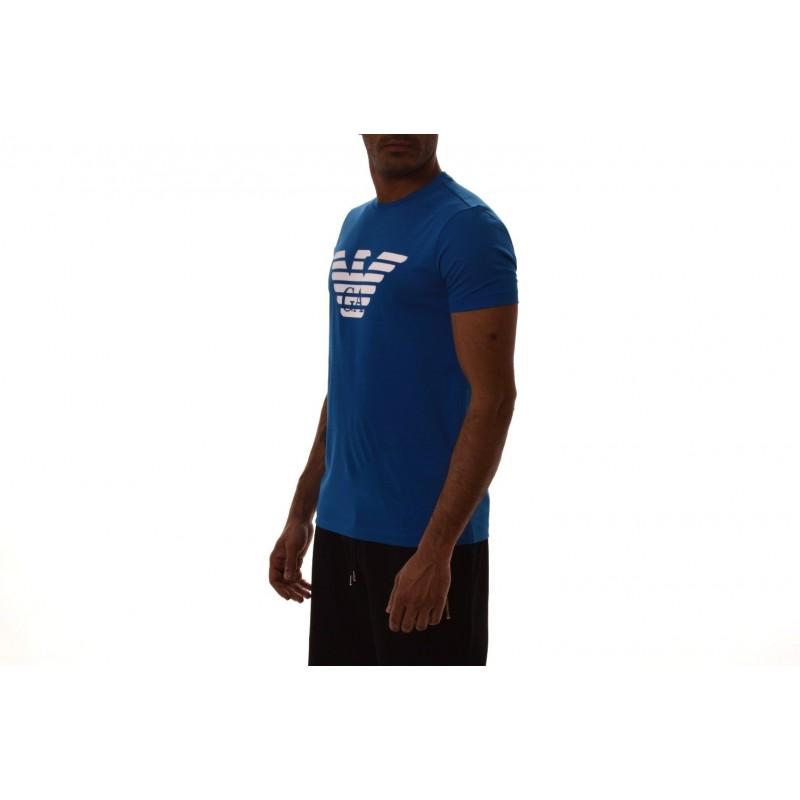 EMPORIO ARMANI -  Cotton T-Shirt with LOGO printed - Bluette