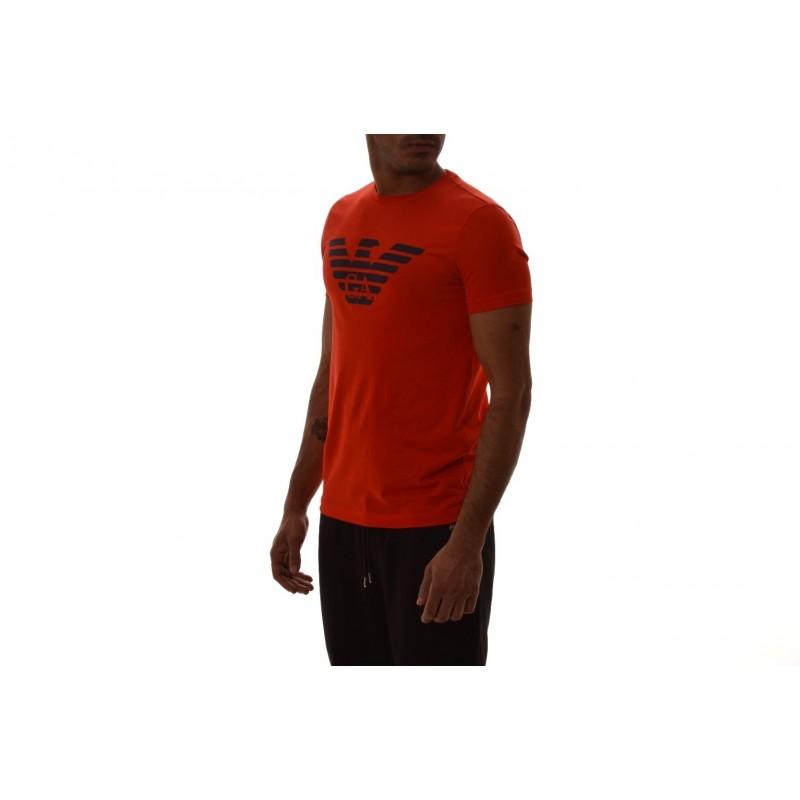 EMPORIO ARMANI - T-Shirt in cotone con stampa LOGO - Corallo