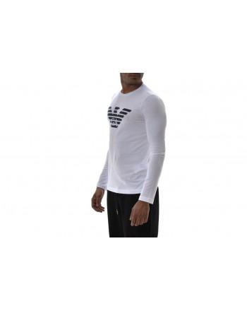 EMPORIO ARMANI  - T-Shirt  in cotone a maniche lunghe con stampa LOGO - Bianco