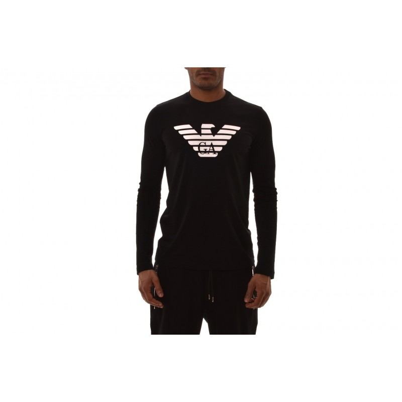 EMPORIO ARMANI  - Long-sleeved cotton T-shirt with LOGO printed - Black