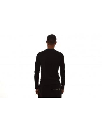 EMPORIO ARMANI  - T-Shirt  in cotone a maniche lunghe con stampa LOGO - Nero