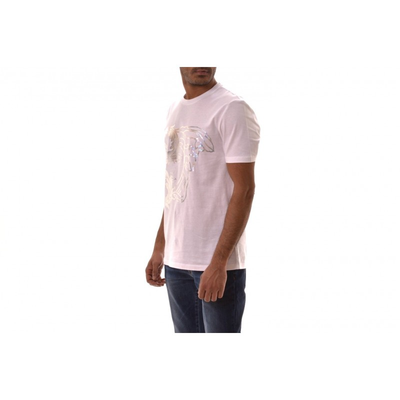 VERSACE COLLECTION - T-Shirt in Cotone con Stampa Medusa  - Bianco/Stampa