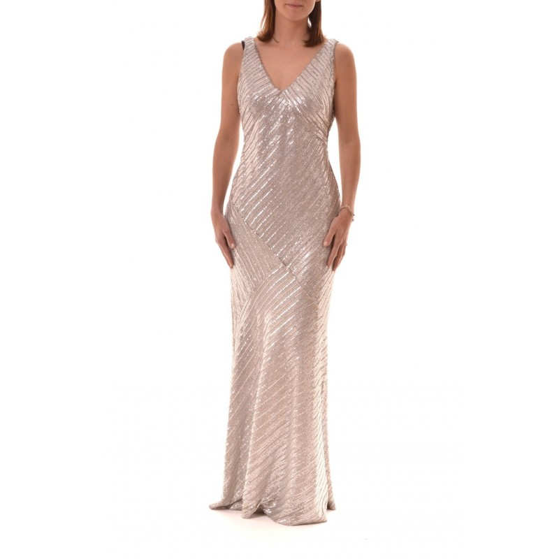 POLO RALPH LAUREN - Long Dress with  Paillettes REANDALYN - Pearl Grey