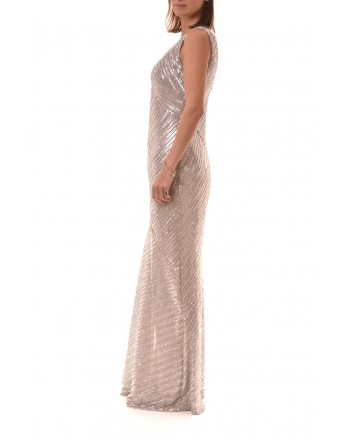 POLO RALPH LAUREN - Long Dress with  Paillettes REANDALYN - Pearl Grey