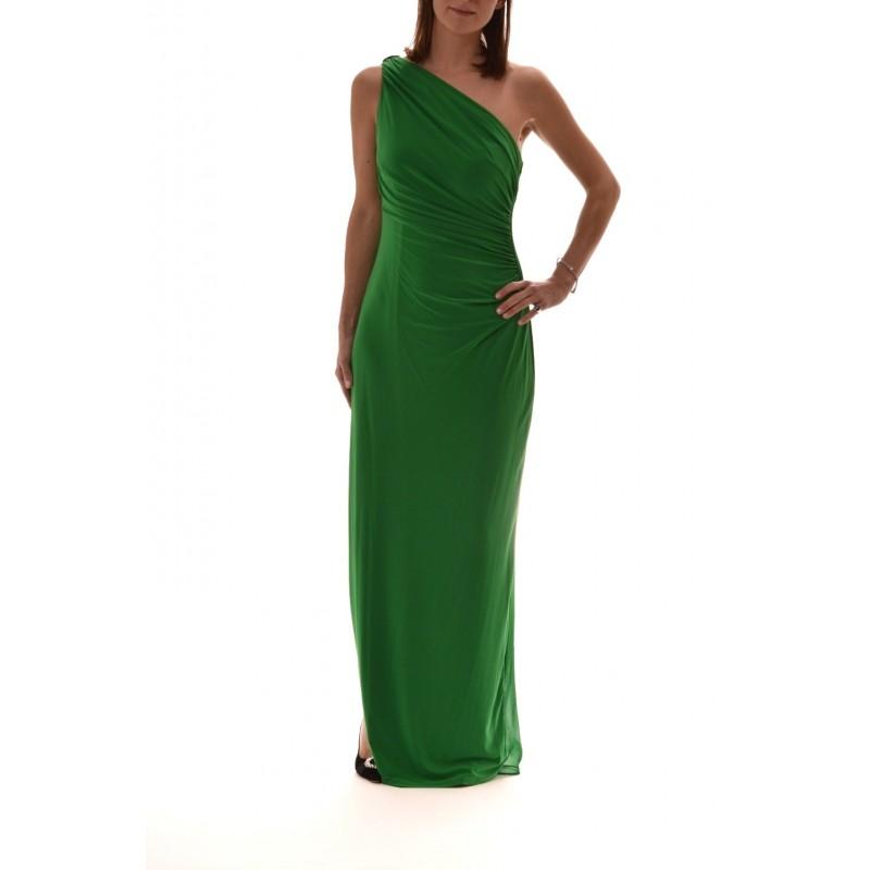 POLO RALPH LAUREN - One Shoulder Long Dress LISELLA  - Green
