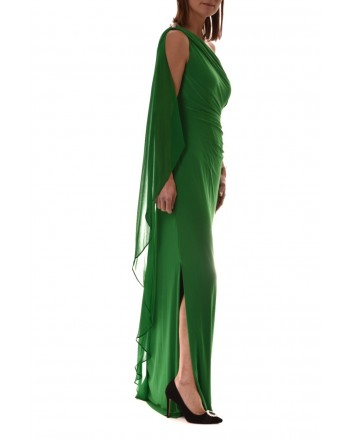 POLO RALPH LAUREN - One Shoulder Long Dress LISELLA  - Green
