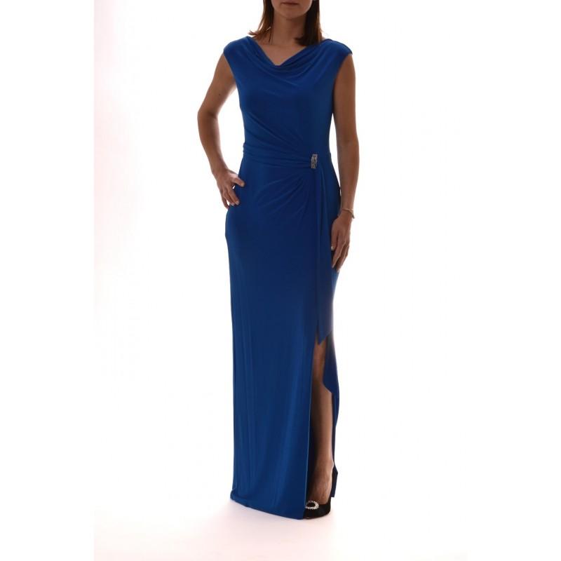 POLO RALPH LAUREN - Abito Lungo con Fibbia Gioiello SHAYLA - Azzurro