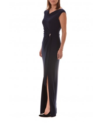 POLO RALPH LAUREN - Long Dress with Jewel Buckle SHAYLA - Blue