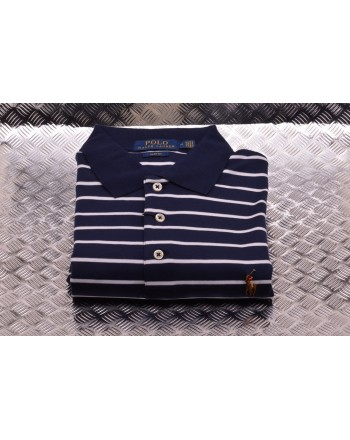 POLO RALPH LAUREN -  Polo in Cotone Slim Fit a Righe  - Navy/Bianco