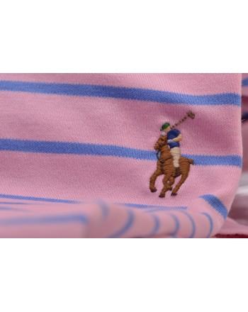 POLO RALPH LAUREN -  Polo in Cotone Slim Fit a Righe  - Rosa/Azzurro