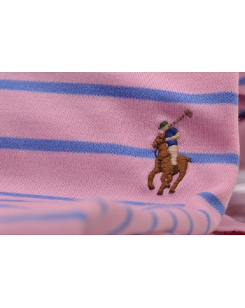 POLO RALPH LAUREN -  Slim Fit Striped Polo  - Pink/Light Blue