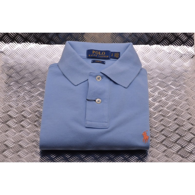 POLO RALPH LAUREN -  Polo in Cotone Slim Fit  - Baby Blue