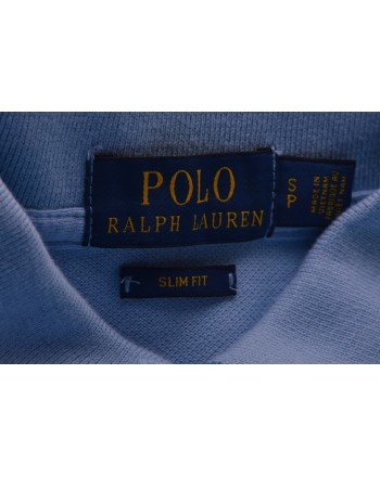 POLO RALPH LAUREN -  Slim Fit Cotton Polo Shirt  - Baby Blue
