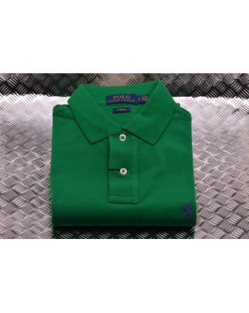 POLO RALPH LAUREN -  Slim Fit Polo Shirt  - Billiard Green