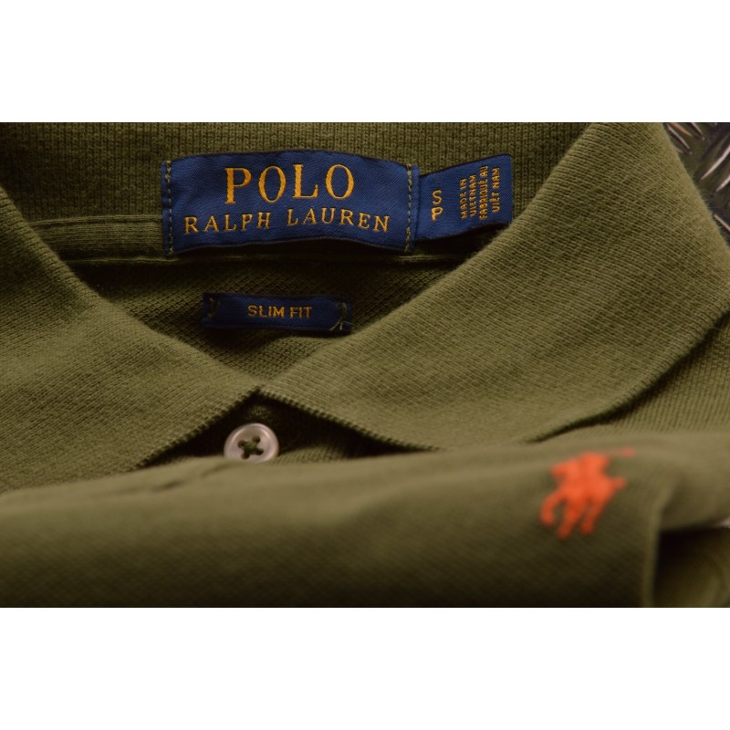 POLO RALPH LAUREN -  Polo in Cotone Slim Fit - Green Olive