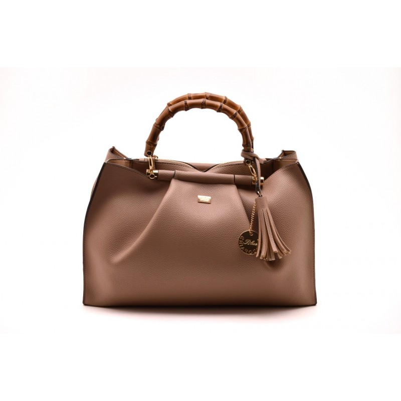LES COPAINS BLUE -  - Leather Bag with Double Bamboo Strap - Rope Brown