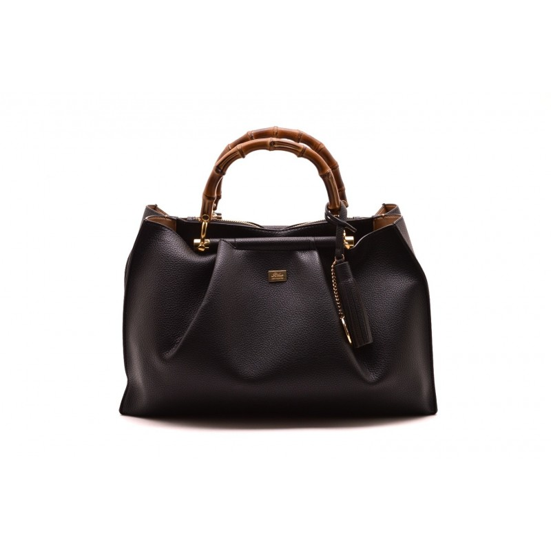 LES COPAINS BLUE - Leather Bag with Double Bamboo Straps - Black