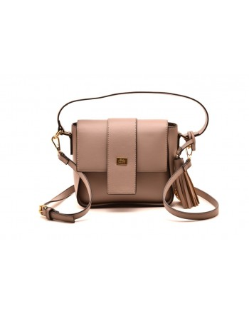 LES COPAINS BLUE - Leather Crossbody Bag - Rope Brown