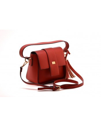 LES COPAINS BLUE - Leather Crossbody Bag - Poppy Red
