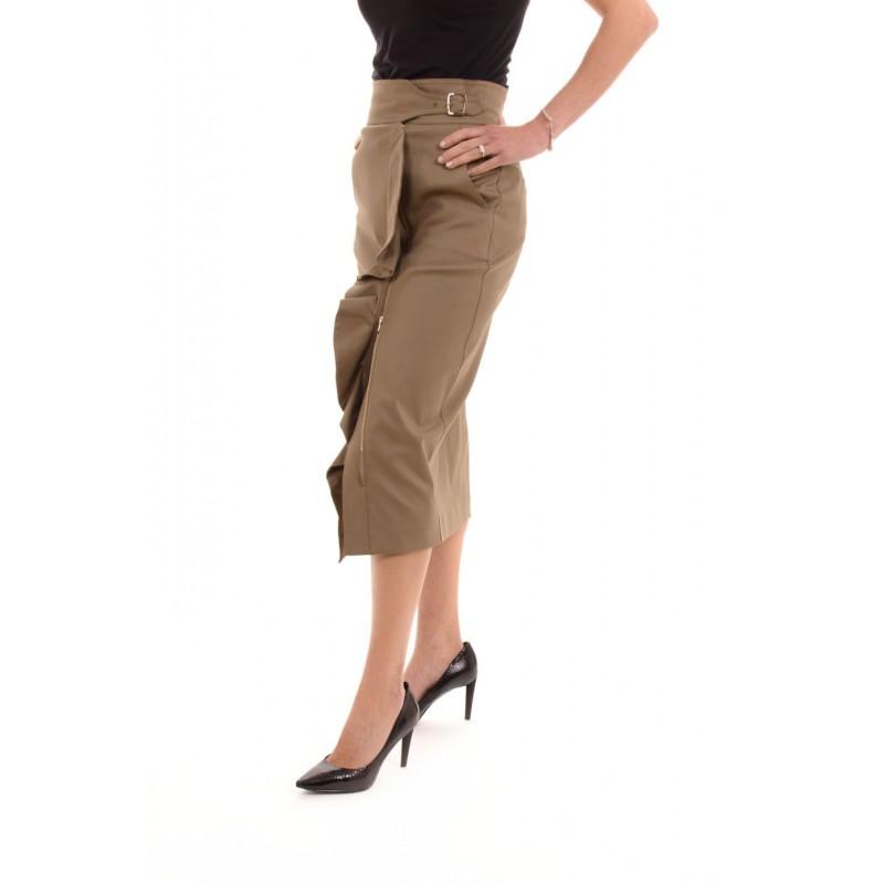 MAX MARA - Cotton Pencil Skirt with Frills UNIPARO - Mastic