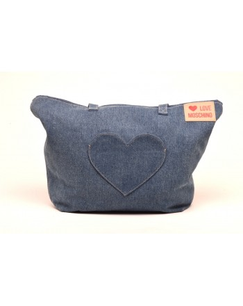 LOVE MOSCHINO - Fabric Shopping with Heart Patch  - Denim Blue