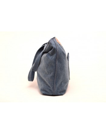 LOVE MOSCHINO - Borsa Shopping in Tessuto con Patch Cuore - Denim Blu