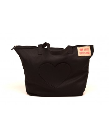 LOVE MOSCHINO -  Borsa Shopping in Tessuto con Patch Cuore - Nero