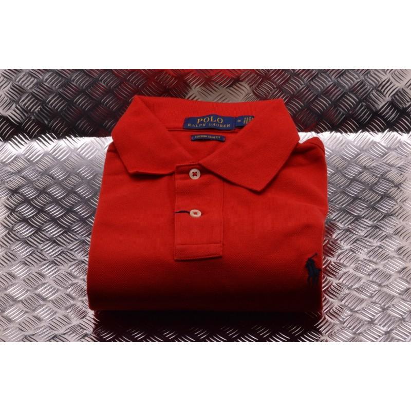 POLO RALPH LAUREN -   Custom Slim Cotton Polo Shirt - Red