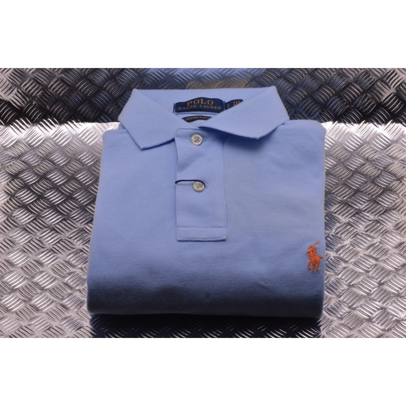 the latest e7e47 7e914 POLO RALPH LAUREN - Custom Slim Cotton Polo Shirt - Baby Blue