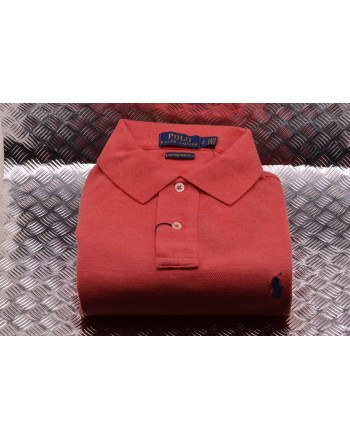 POLO RALPH LAUREN -  Polo Custom Slim in Cotone - Corallo