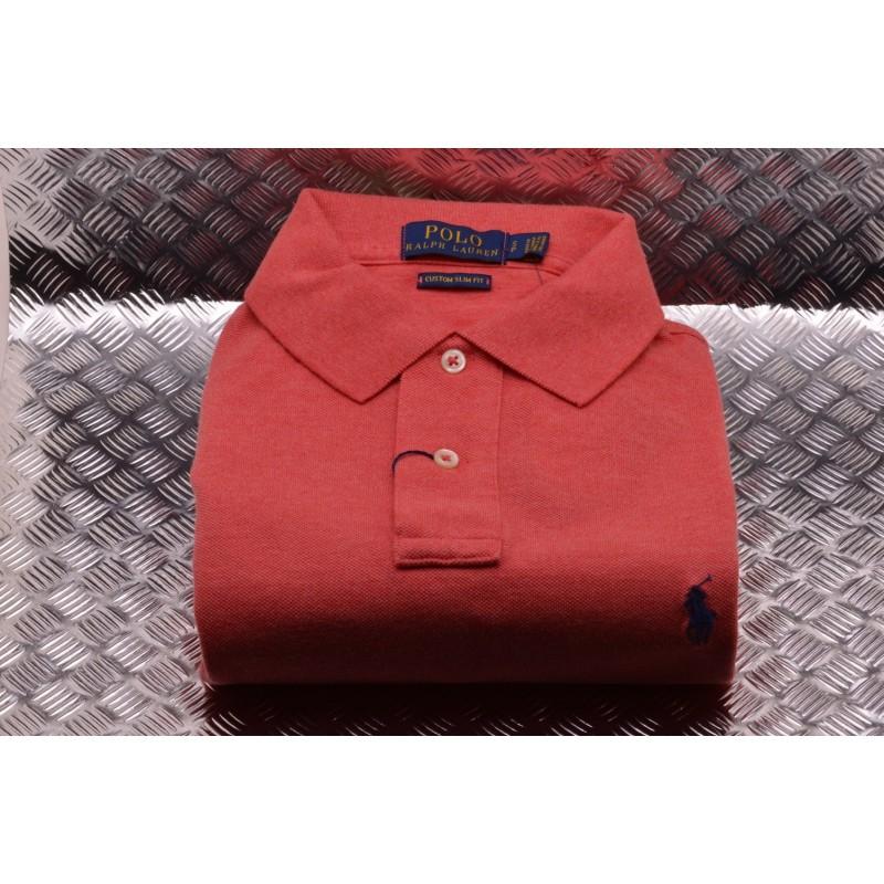 POLO RALPH LAUREN -  Polo Custom Slim in Cotone - Corallo