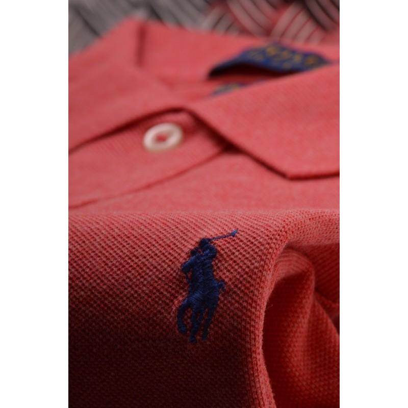 POLO RALPH LAUREN -   Custom Slim Cotton Polo Shirt - Coral