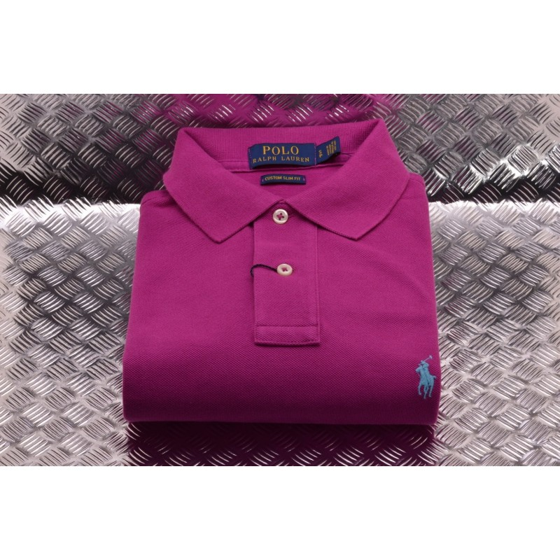 POLO RALPH LAUREN -  Polo in Cotone Custom Slim Fit  - Royal Magenta