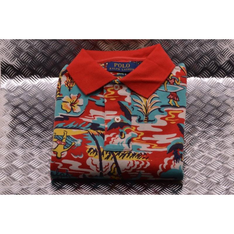POLO RALPH LAUREN -   Custom Slim Cotton Polo Shirt  - Red Palm