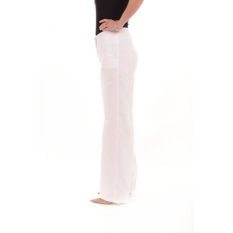 MAX MARA Pantalone in Lino STREET - Bianco