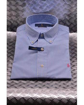 POLO RALPH LAUREN - Striped cotton shirt - White/Light Blue