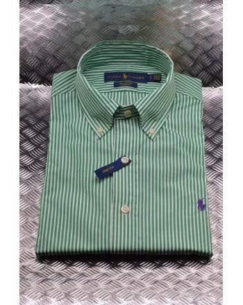 POLO RALPH LAUREN - Striped cotton shirt - White/Green