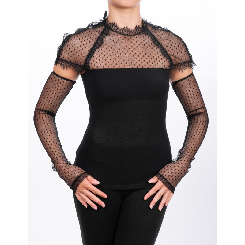 PINKO - Removable Sleeves Modal T-Shirt DORIANO - Black