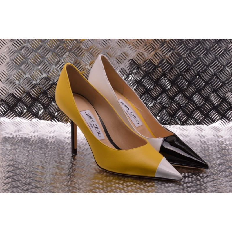 Jimmy Choo - Décolleté LOVE 85 in pelle - Nero/Bianco/FluoYellow