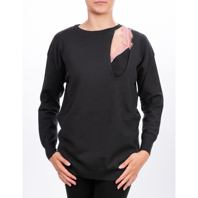 PINKO - GELSOMINO jersey in Viscose - Anthracite/Pink