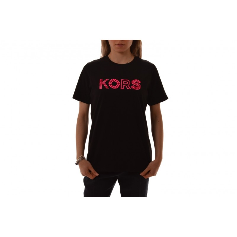 MICHAEL BY MICHAEL KORS -   Cotton T-Shirt with print and rhinestones - Black/Neon Pink